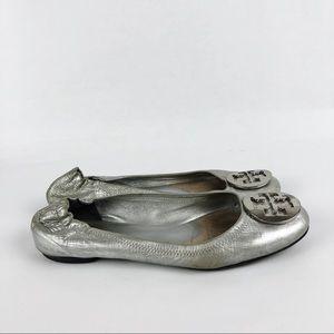 Tory Burch Reva Flats Silver Size 8 Women's Shoes